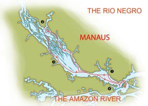 Expedition map of an Amazon Odyssey on the Motor Yacht Tucano