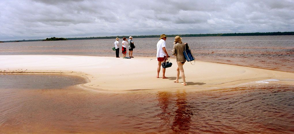 Rio Negro Beach and sandbar on an Amazon River Cruise