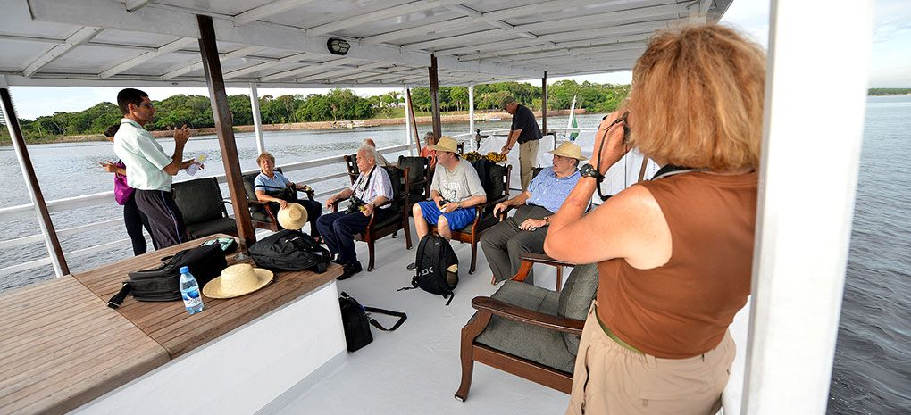 Amazon River Cruise Tour Group on the Observation Deck of the M/Y Tucano