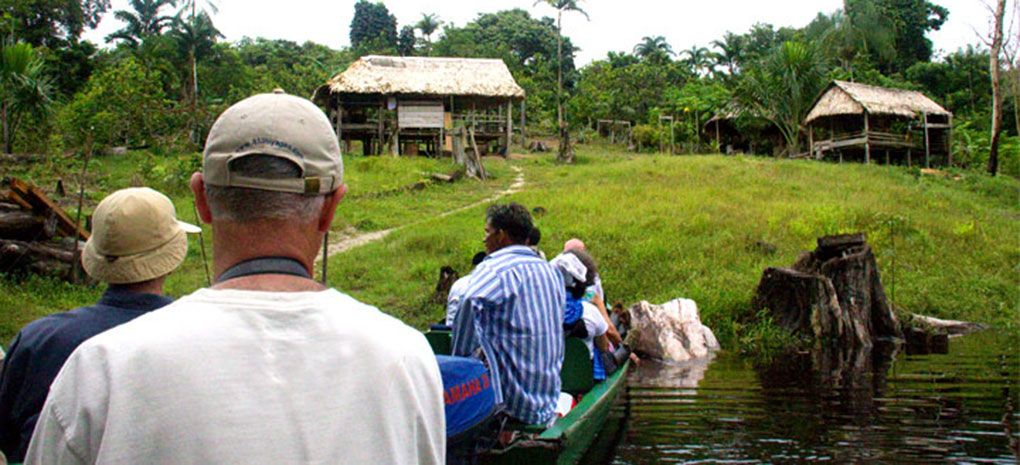 Approaching Amazon River Village by boat
