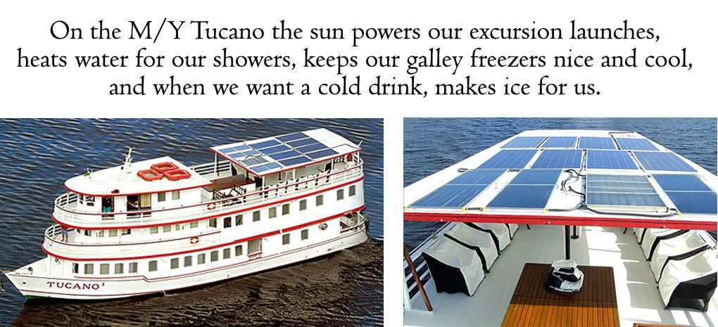 Rooftop Solar Panels, MY Tucano, Amazon River Cruise