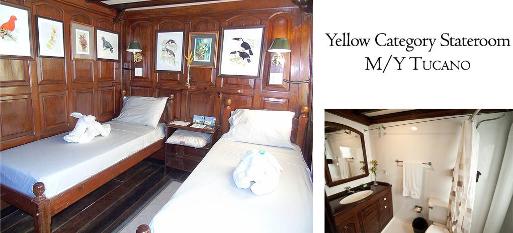 Yellow Category Stateroom / Cabin with Single Beds and bathroom on Tucano Amazon River Cruise