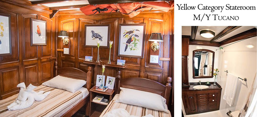 Yellow Category Stateroom / Cabin with Single Beds on Tucano Amazon River Cruise
