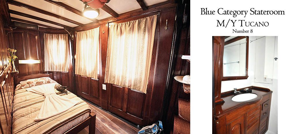 Blue Category Stateroom / Cabin with Single Bed on Tucano Amazon River Cruise