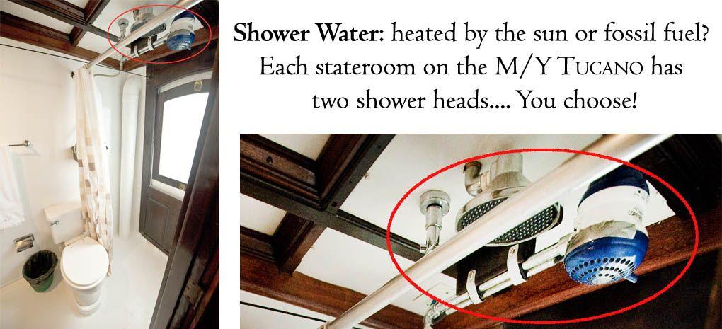 Solar Heated Showers, MY Tucano, Amazon River Cruise