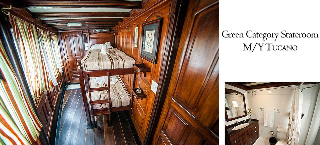 Green Category Stateroom / Cabin with Single Bunk Beds on Tucano Amazon River Cruise