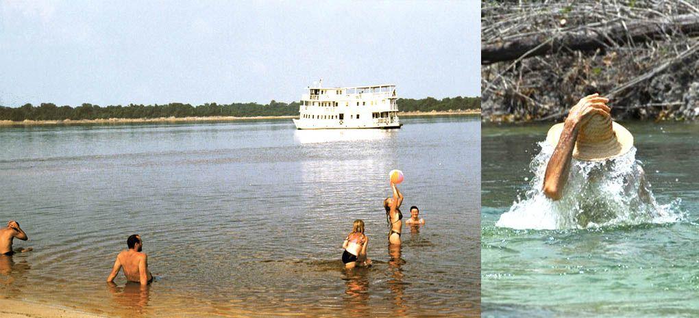 Cruising Passenger Swiming in the Amazon River